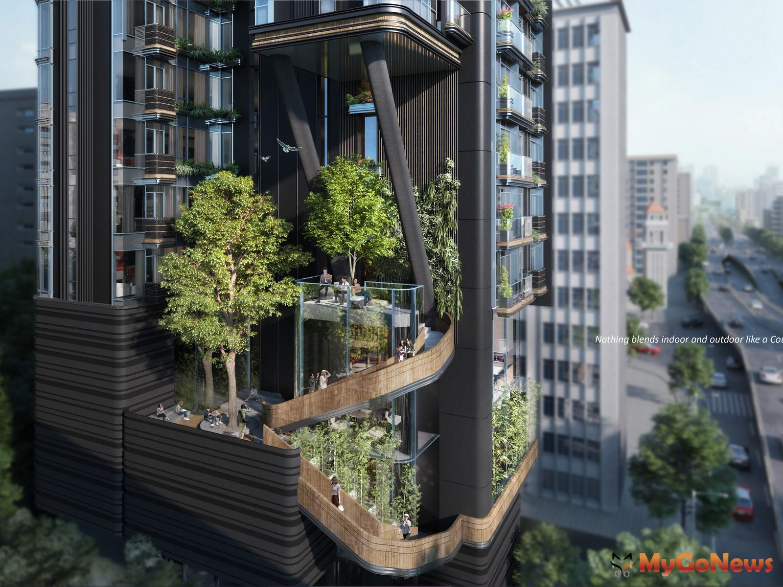 香港呂元祥建築師事務所看台灣城市再升級,庭缘建案將「庭院」的概念結合並應用於高樓設計中,極具標誌式戶外樓梯設計,不僅創造植栽擁抱建築的氛圍,也強化「城市森林建築」的落實(圖/業者提供) MyGoNews房地產新聞 市場快訊