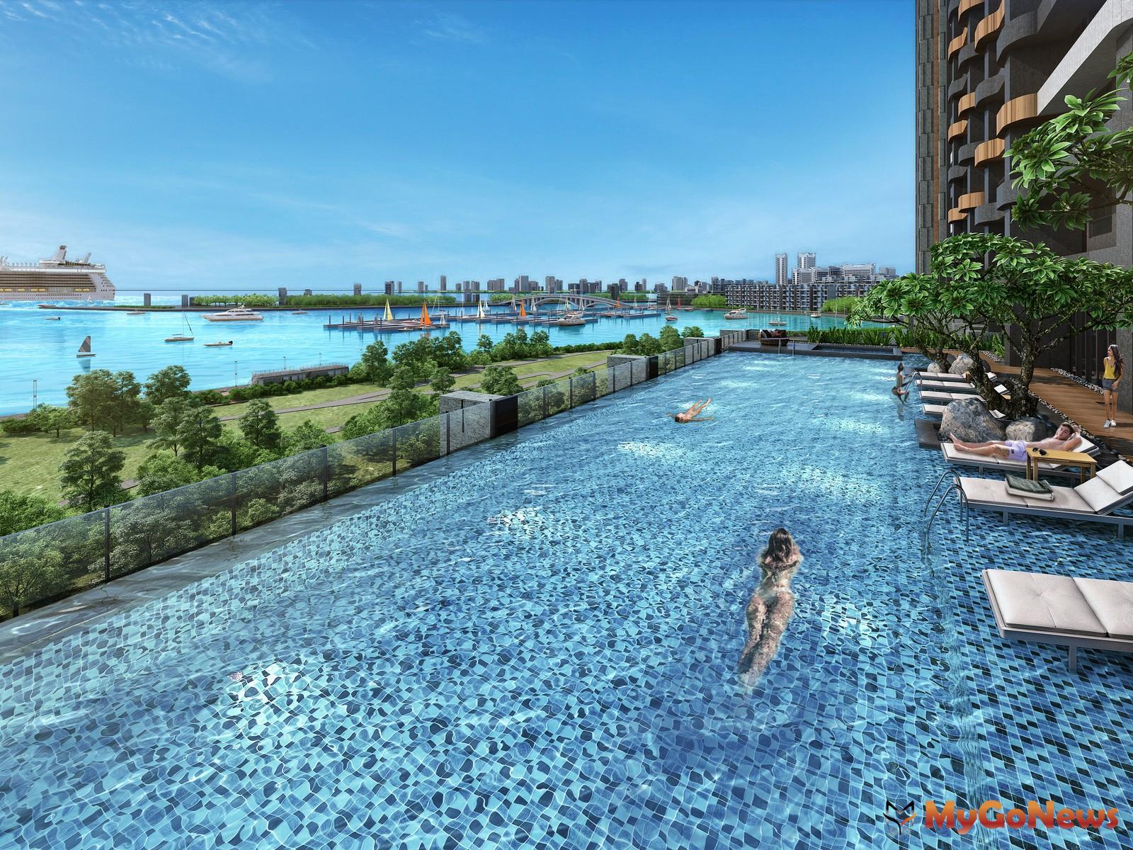 在露天泳池恣意暢遊,連女神也推薦的海灣生活,媲美星級飯店規格。圖/ 興富發提供 MyGoNews房地產新聞 熱銷推案
