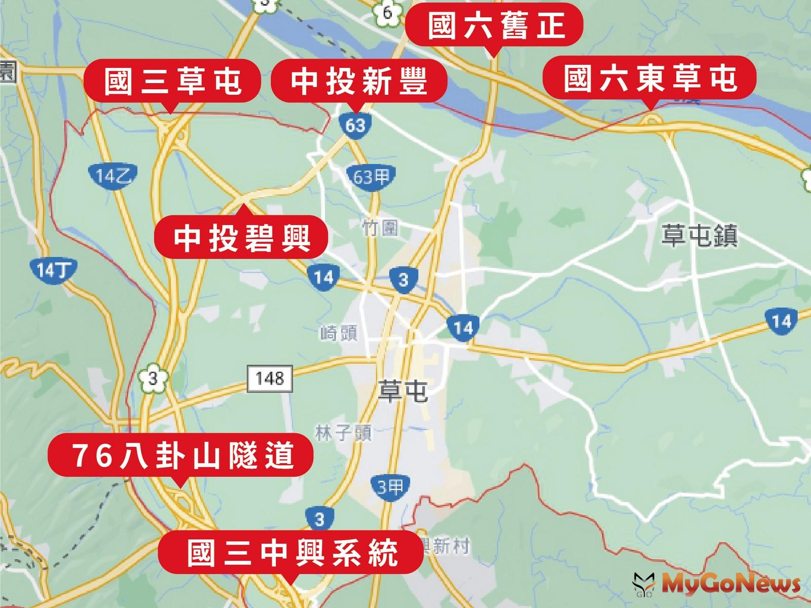 草屯鎮位於台中、彰化、南投交通樞紐,擁有俗稱「草屯環」的7個交流道口(圖/東森房屋) MyGoNews房地產新聞 市場快訊