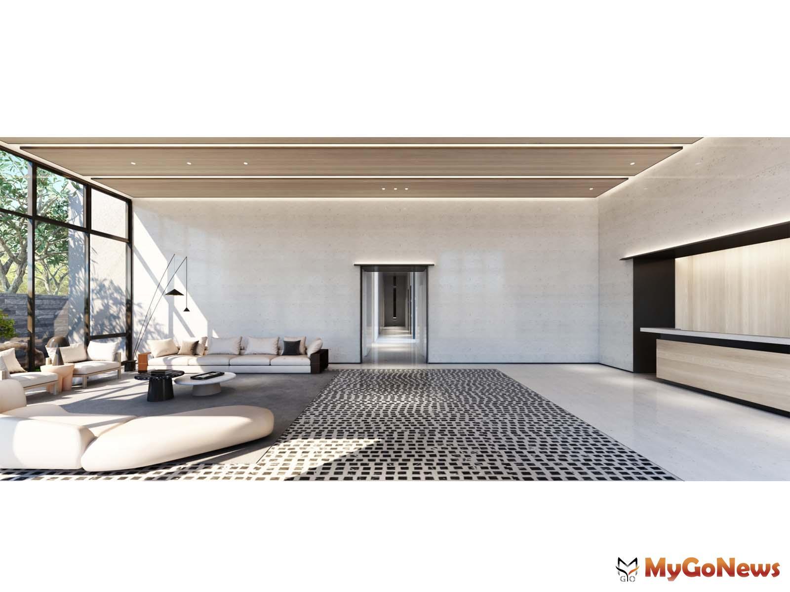 明亮大廳輝映戶外水景光影,塑造了空間層次的舒適與安定(公設 3D示意圖} MyGoNews房地產新聞 專題報導