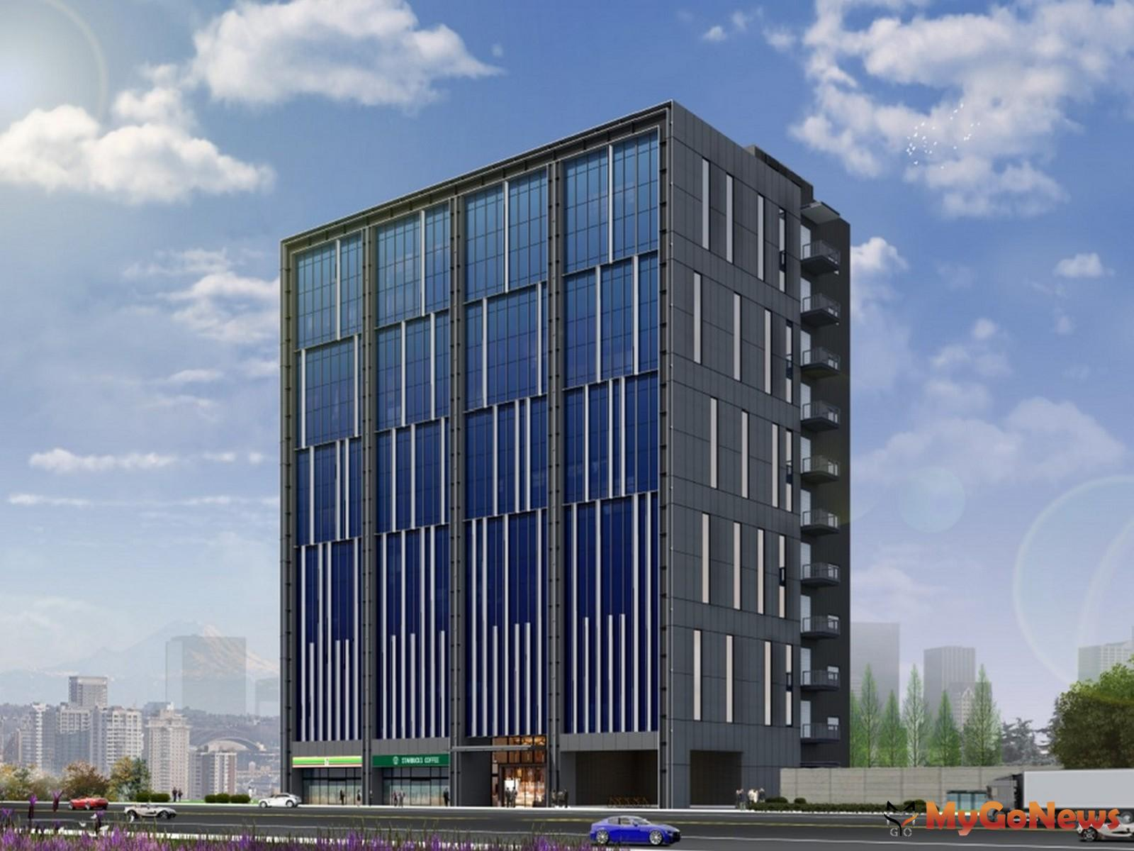 綠意順光天下模擬圖,本案將斥資5.75億元興建地上11層、地下2層的廠辦大樓,總樓板面積約3050坪,將興建約40個廠房單元,預計2023年下半年完工並取得使照(圖/新北市政府) MyGoNews房地產新聞 區域情報