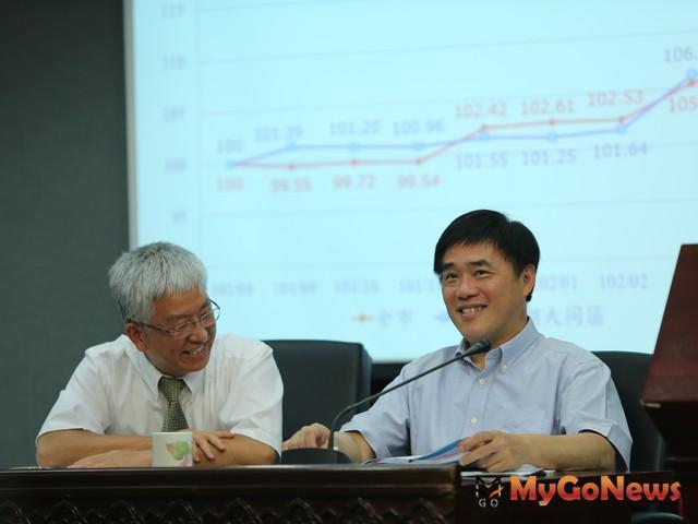 台北市長郝龍斌、副市長張金鶚共同出席台北市住宅價格月指數記者會,看來心情不錯 MyGoNews房地產新聞 市場快訊