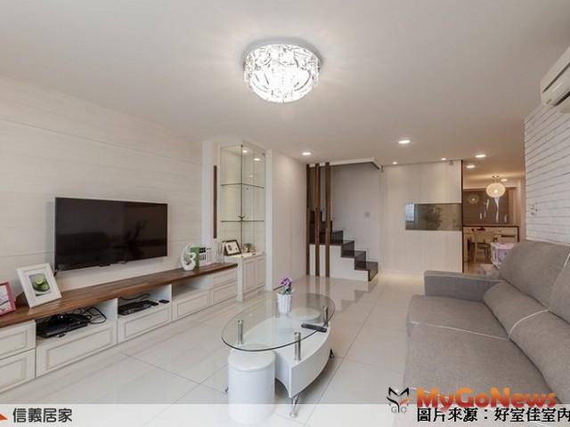 玄關及客廳,僅使用中間透空的櫃體搭配夾紗玻璃,適度阻隔視線,完美表達簡約風格(圖:信義居家服務中心) MyGoNews房地產新聞 居家風水