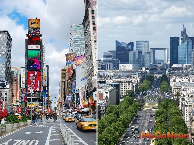 巴黎香榭麗舍大道(右)、紐約第五大道(左)都是城市中軸線,是交通重要幹道,路段旁的商用不動產房價/租金都是區域指標。 MyGoNews房地產新聞 專題報導