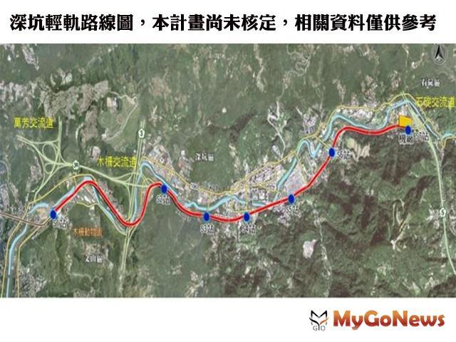 深坑輕軌路線圖,本計畫尚未核定,相關資料僅供參考(圖:新北市政府) MyGoNews房地產新聞 區域情報