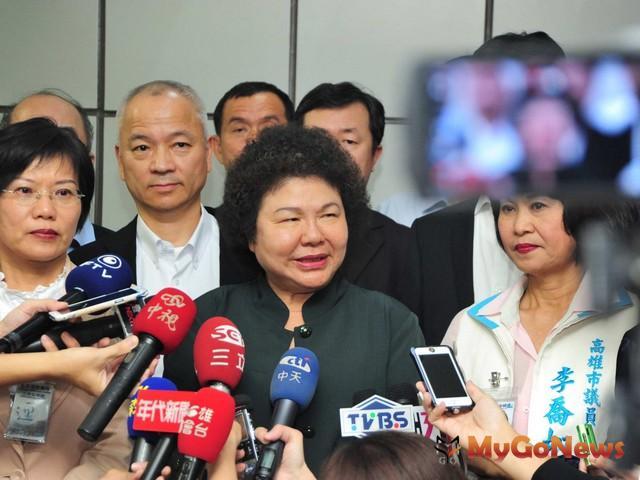 高雄市長陳菊表示,尋求兩岸城市發展契機,並將持續爭取固定航線,增進兩岸觀光交通。(圖:高雄市政府) MyGoNews房地產新聞 區域情報